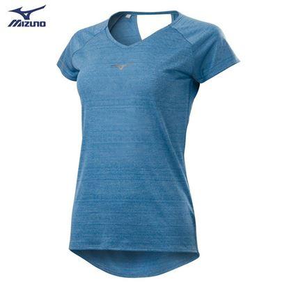 圖片 【美津濃MIZUNO】女款路跑短袖T恤-(煙灰藍)