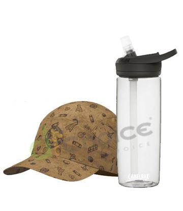 圖片 可捲收健行帽-南方賢者+750 eddy+多水管水瓶 晶透白