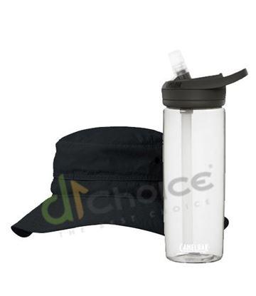 圖片 日系[ Karrimor ]ventilation classic ST 透氣圓盤帽-黑+750 eddy+多水管水瓶 晶透白