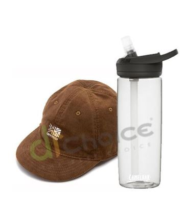 圖片 日系[ Karrimor ] Corduroy logo cap 燈芯龍小帽-深米黃+750 eddy+多水管水瓶 晶透白