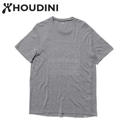 圖片 瑞典【Houdini】M`s Activist Tee Message 男 羊毛混紡天絲短袖 柔軟灰