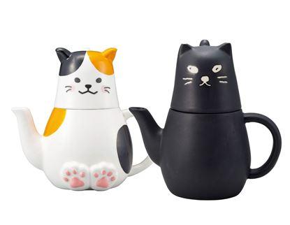 圖片 日本 sunart 杯壺組 - 大黑貓/三花貓