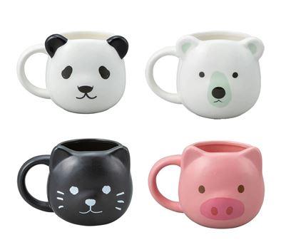 圖片 日本 sunart 馬克杯-小黑貓/粉紅豬/北極熊/小貓熊