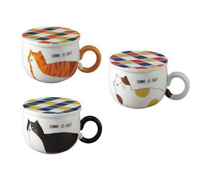 圖片 日本 sunart 馬克杯磁磚墊 - 虎斑貓/黑貓/三花貓(附杯墊)